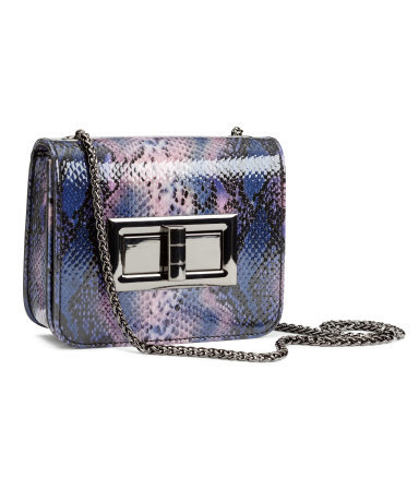 Mini Shoulder Bag - secondary colour: blush; predominant colour: royal blue; occasions: evening, occasion; type of pattern: light; style: shoulder; length: across body/long; size: small; material: faux leather; pattern: animal print; finish: plain; embellishment: chain/metal; season: s/s 2015; wardrobe: event