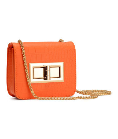 Mini Shoulder Bag - predominant colour: bright orange; secondary colour: gold; occasions: evening, occasion; type of pattern: standard; style: shoulder; length: across body/long; size: small; material: faux leather; pattern: plain; finish: plain; embellishment: chain/metal; trends: seventies retro; season: s/s 2015; wardrobe: event