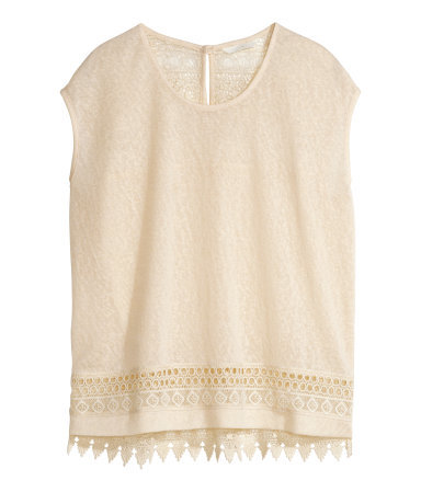 Top With Lace Details - neckline: round neck; sleeve style: capped; pattern: plain; predominant colour: nude; occasions: casual; length: standard; style: top; fibres: polyester/polyamide - 100%; fit: loose; sleeve length: short sleeve; pattern type: fabric; texture group: jersey - stretchy/drapey; embellishment: lace; season: s/s 2015