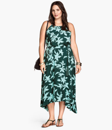 + Sleeveless Maxi Dress - length: calf length; sleeve style: sleeveless; neckline: low halter neck; waist detail: belted waist/tie at waist/drawstring; predominant colour: dark green; secondary colour: pistachio; occasions: casual, occasion; fit: body skimming; style: asymmetric (hem); fibres: viscose/rayon - 100%; sleeve length: sleeveless; pattern type: fabric; pattern: florals; texture group: jersey - stretchy/drapey; season: s/s 2015; multicoloured: multicoloured; wardrobe: highlight