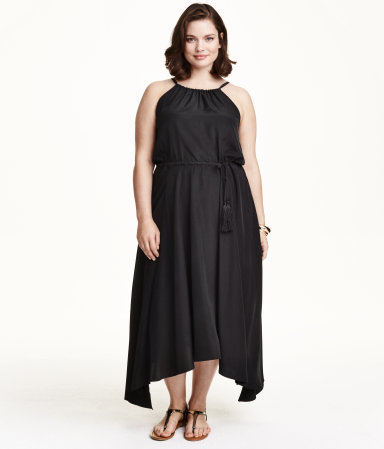 + Sleeveless Maxi Dress - length: calf length; fit: fitted at waist; pattern: plain; sleeve style: sleeveless; neckline: low halter neck; waist detail: belted waist/tie at waist/drawstring; predominant colour: black; occasions: casual, occasion; style: asymmetric (hem); hip detail: soft pleats at hip/draping at hip/flared at hip; sleeve length: sleeveless; texture group: crepes; pattern type: fabric; season: s/s 2015