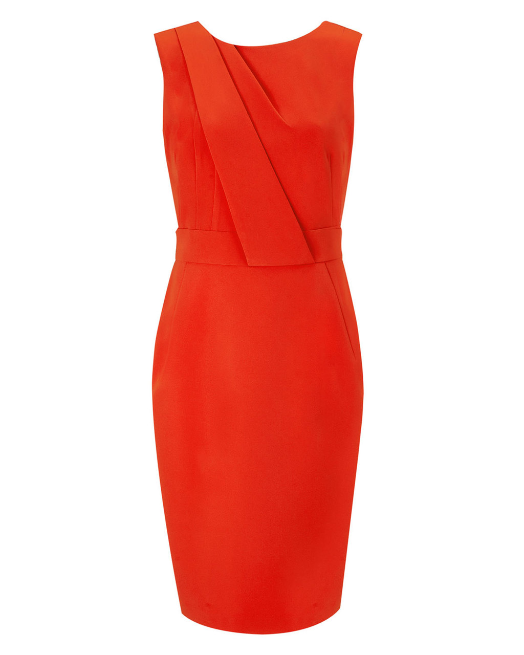 Jemina Dress - style: shift; length: mid thigh; neckline: round neck; fit: tailored/fitted; pattern: plain; sleeve style: sleeveless; predominant colour: true red; occasions: evening, occasion; fibres: polyester/polyamide - stretch; sleeve length: sleeveless; texture group: crepes; bust detail: tiers/frills/bulky drapes/pleats; pattern type: fabric; season: s/s 2015; wardrobe: event