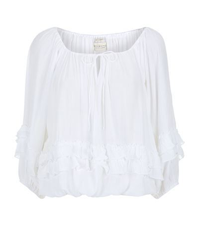 Tiered Boho Blouse - pattern: plain; sleeve style: balloon; predominant colour: white; occasions: casual; length: standard; style: top; neckline: scoop; fibres: cotton - mix; fit: loose; sleeve length: 3/4 length; texture group: cotton feel fabrics; season: s/s 2015; wardrobe: basic