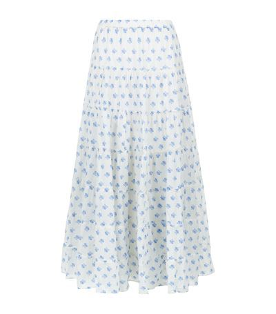 Tiered Rose Maxi Skirt - length: ankle length; fit: loose/voluminous; waist: high rise; predominant colour: ivory/cream; secondary colour: pale blue; style: maxi skirt; fibres: cotton - 100%; occasions: occasion; hip detail: soft pleats at hip/draping at hip/flared at hip; pattern type: fabric; pattern: patterned/print; texture group: other - light to midweight; season: s/s 2015; pattern size: standard (bottom)