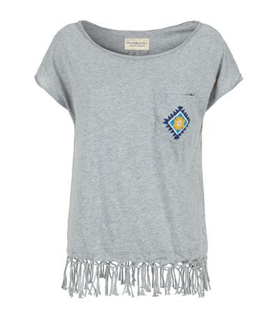 Embellished Pocket T Shirt - pattern: plain; style: t-shirt; predominant colour: light grey; occasions: casual, creative work; length: standard; neckline: scoop; fibres: cotton - 100%; fit: body skimming; sleeve length: short sleeve; sleeve style: standard; pattern type: fabric; texture group: jersey - stretchy/drapey; embellishment: fringing; season: s/s 2015; wardrobe: highlight; embellishment location: hem