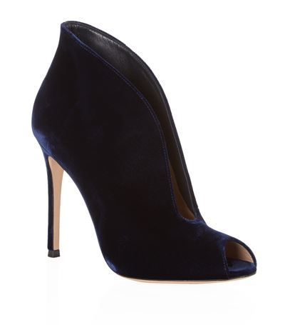 Lombardy Velvet Bootie - predominant colour: navy; material: velvet; heel: stiletto; toe: open toe/peeptoe; boot length: ankle boot; style: standard; finish: plain; pattern: plain; heel height: very high; occasions: creative work; season: s/s 2015