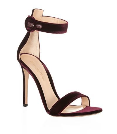 Como Velvet Sandal - predominant colour: aubergine; occasions: evening, occasion; material: velvet; heel height: high; ankle detail: ankle strap; heel: stiletto; toe: open toe/peeptoe; style: strappy; finish: plain; pattern: plain; season: s/s 2015; wardrobe: event