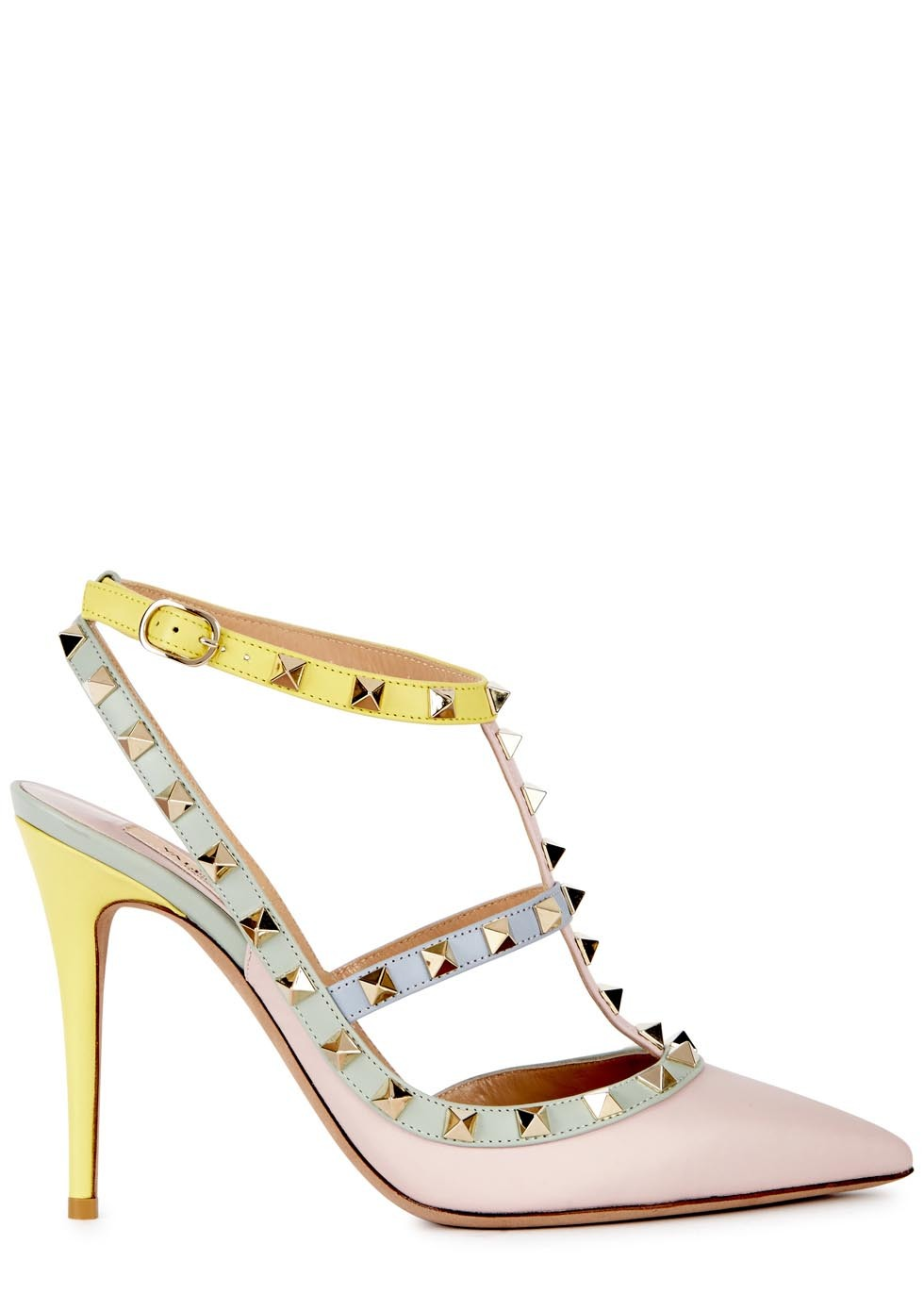 Rockstud 115 Pastel Leather Pumps - predominant colour: blush; secondary colour: pale blue; occasions: evening, occasion, creative work; material: leather; heel height: high; embellishment: studs; heel: stiletto; toe: pointed toe; style: courts; finish: plain; pattern: colourblock; season: s/s 2015; wardrobe: highlight