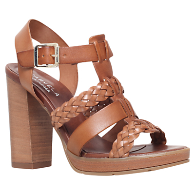 Krill Block Heeled Sandals, Tan Leather - predominant colour: tan; occasions: casual, creative work; material: leather; heel height: high; ankle detail: ankle strap; heel: block; toe: open toe/peeptoe; style: standard; finish: plain; pattern: plain; shoe detail: platform; season: s/s 2015; wardrobe: highlight