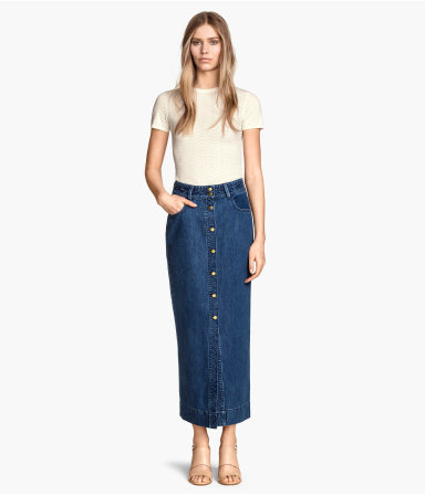 Long Denim Skirt - pattern: plain; length: ankle length; waist: high rise; hip detail: fitted at hip; predominant colour: denim; occasions: casual, creative work; style: maxi skirt; fibres: cotton - mix; texture group: denim; fit: straight cut; pattern type: fabric; trends: alternative denim, seventies retro; season: s/s 2015