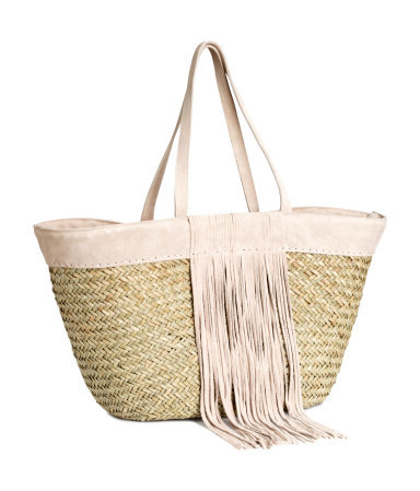 Straw Bag With Suede Details - predominant colour: blush; secondary colour: stone; occasions: casual, holiday; style: tote; length: handle; size: oversized; material: suede; embellishment: fringing; pattern: plain; finish: plain; trends: seventies retro; season: s/s 2015; wardrobe: investment