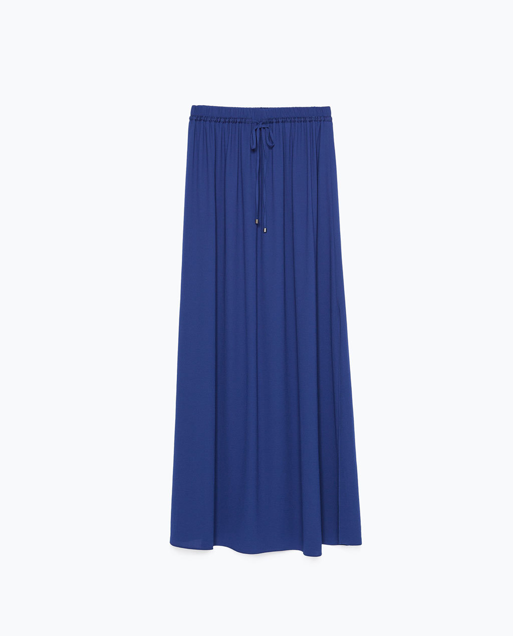 Long Skirt With Slits - pattern: plain; fit: loose/voluminous; waist: high rise; waist detail: belted waist/tie at waist/drawstring; predominant colour: royal blue; occasions: casual, holiday; length: floor length; style: maxi skirt; fibres: polyester/polyamide - 100%; texture group: sheer fabrics/chiffon/organza etc.; pattern type: fabric; season: s/s 2015; wardrobe: highlight