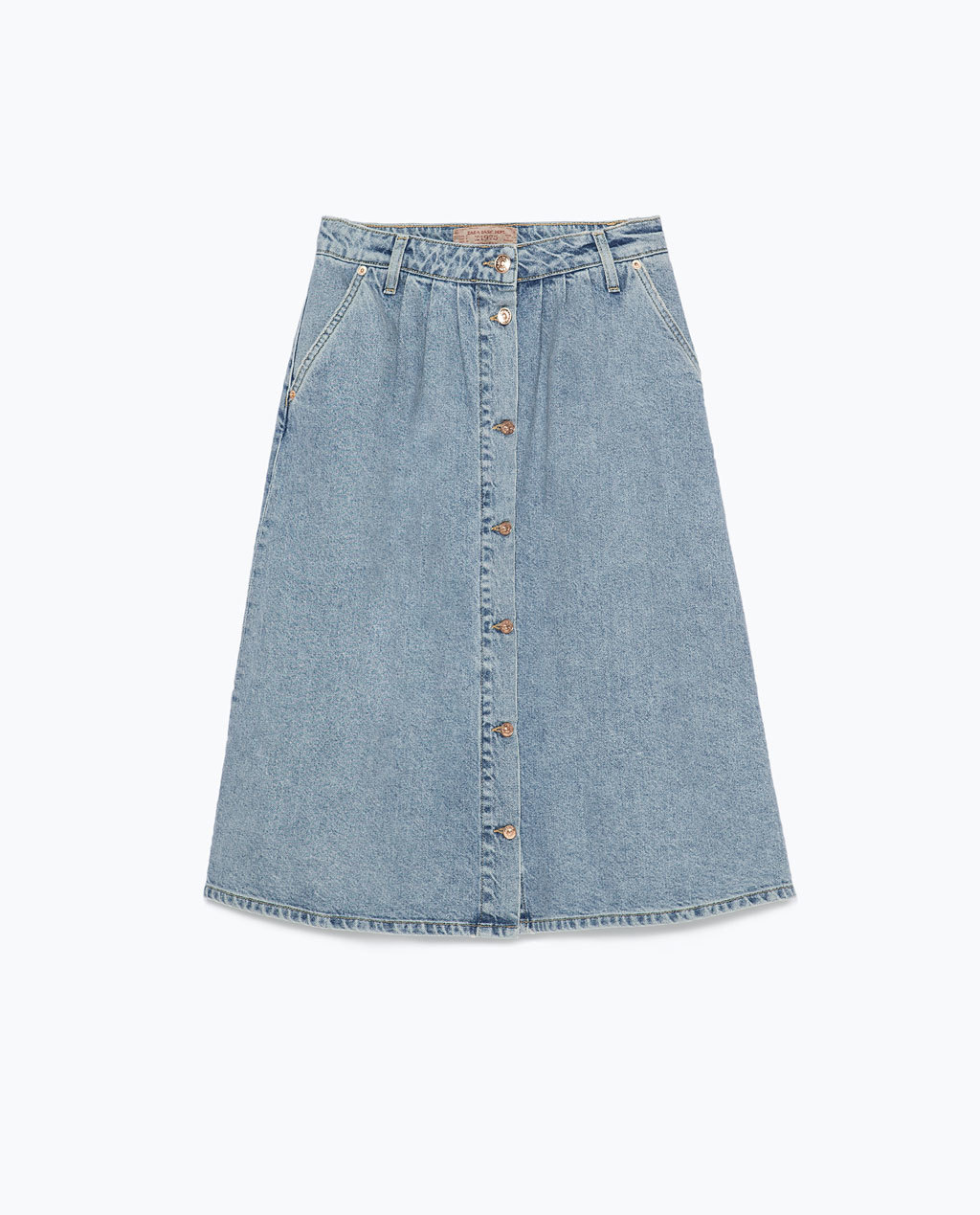 Long Denim Skirt - length: below the knee; pattern: plain; fit: loose/voluminous; waist: high rise; predominant colour: denim; occasions: casual, creative work; style: a-line; texture group: denim; pattern type: fabric; trends: alternative denim, seventies retro; season: s/s 2015