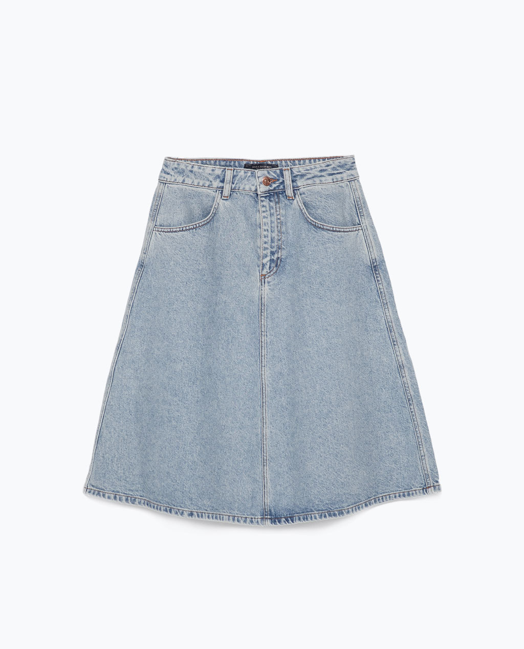 Vintage Style Denim Skirt - pattern: plain; fit: loose/voluminous; waist: mid/regular rise; predominant colour: denim; occasions: casual, creative work; length: just above the knee; style: a-line; texture group: denim; pattern type: fabric; trends: alternative denim, seventies retro; season: s/s 2015; wardrobe: basic