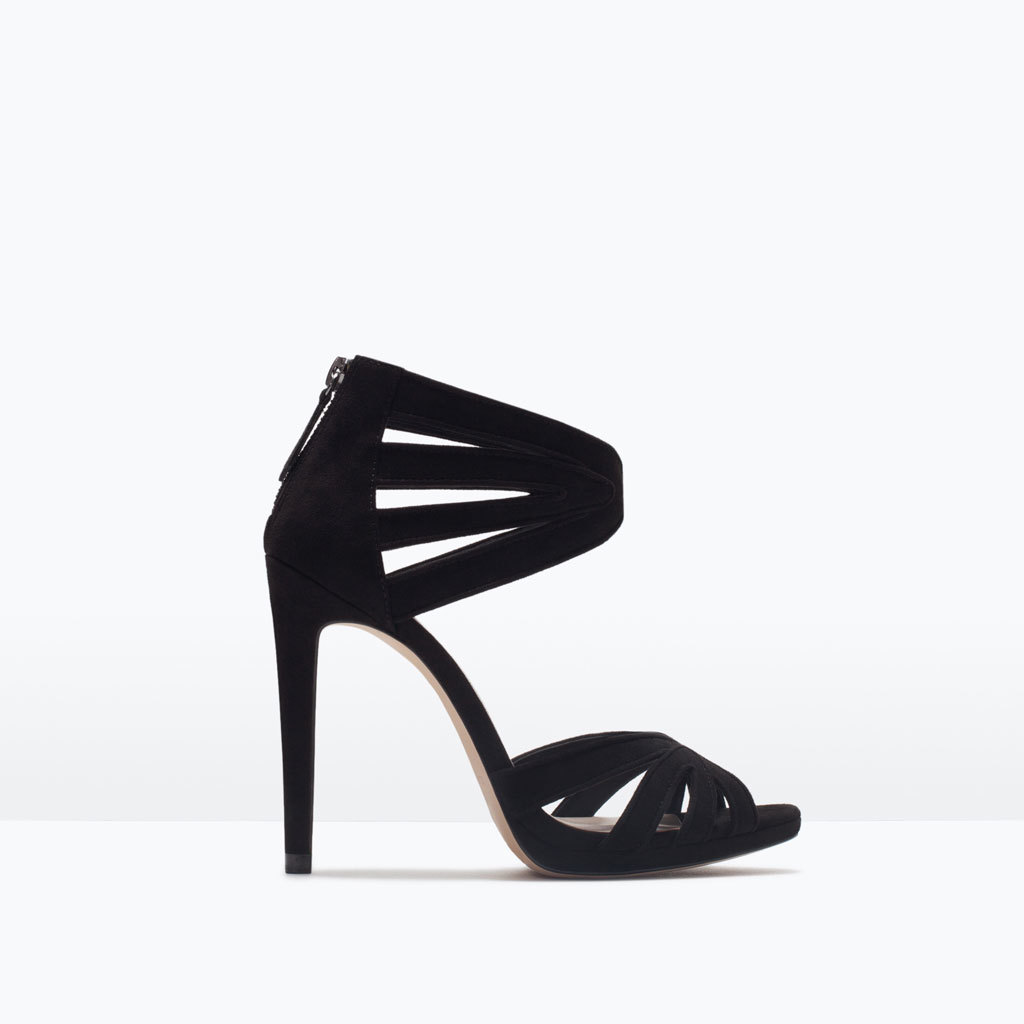 High Heeled Sandals - predominant colour: black; occasions: evening, occasion; material: suede; ankle detail: ankle strap; heel: stiletto; style: strappy; finish: plain; pattern: plain; heel height: very high; toe: caged; shoe detail: platform; season: s/s 2015; wardrobe: event