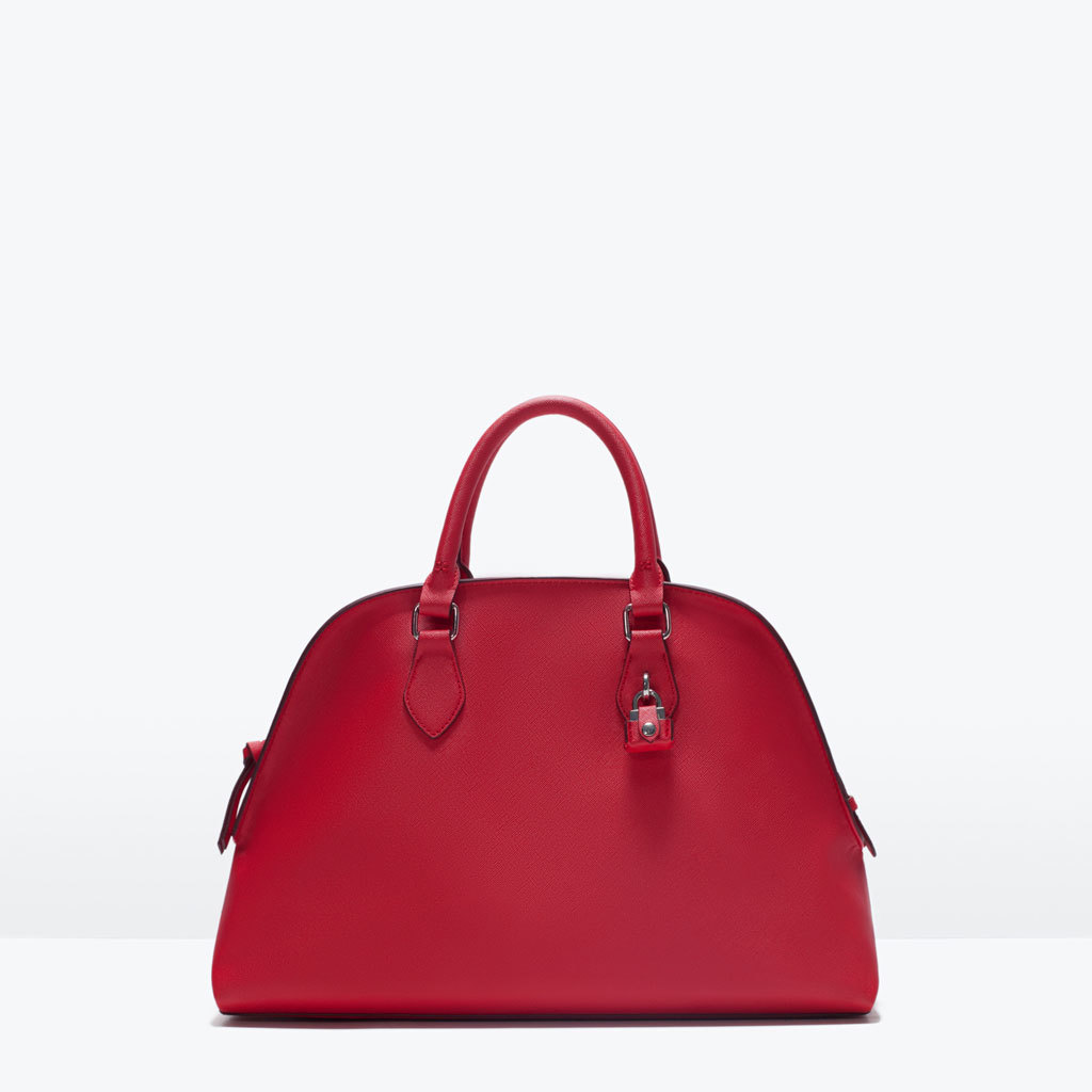 City Bag With Lock - predominant colour: true red; occasions: casual, work, creative work; style: tote; length: handle; size: standard; material: faux leather; pattern: plain; finish: plain; season: s/s 2015; wardrobe: highlight