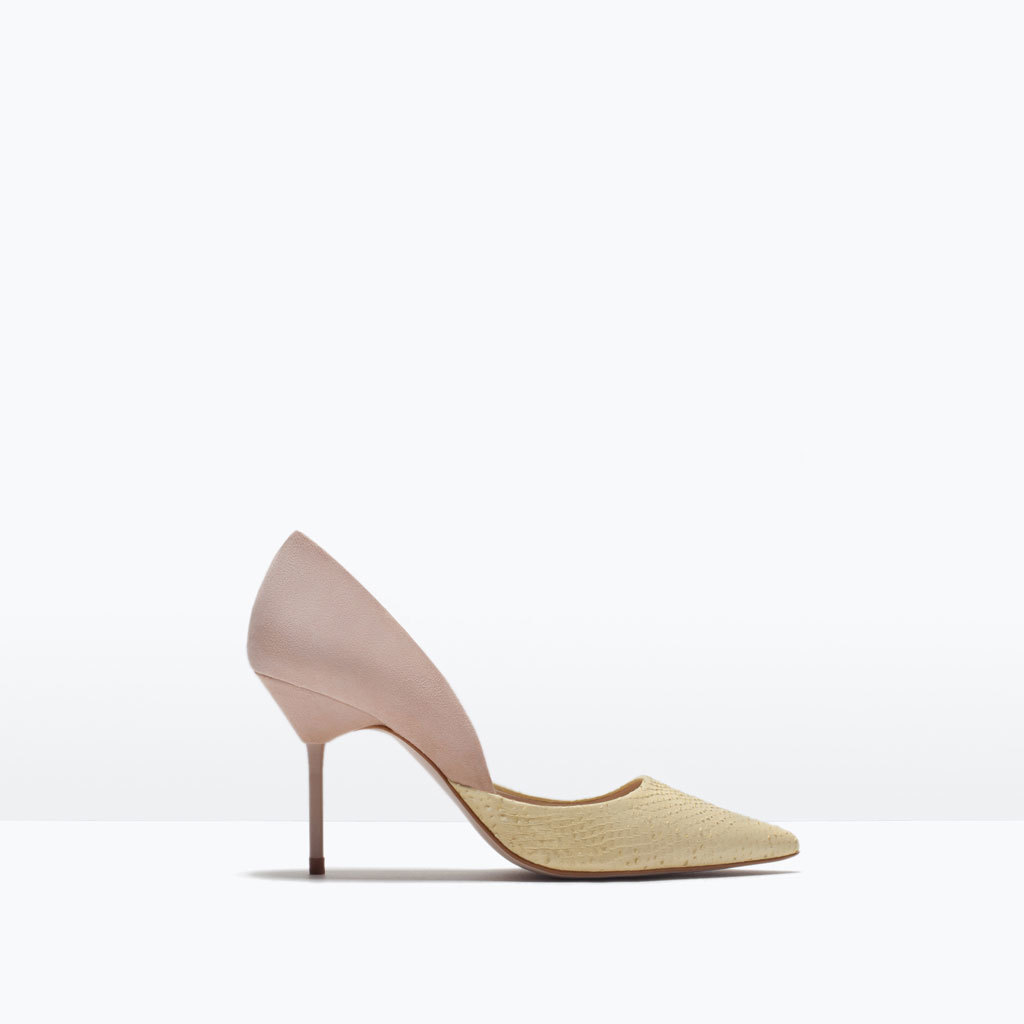 Combined Leather Asymmetric Court Shoes - predominant colour: ivory/cream; secondary colour: blush; occasions: evening, occasion; material: leather; heel height: high; heel: stiletto; toe: pointed toe; style: courts; finish: plain; pattern: colourblock; season: s/s 2015