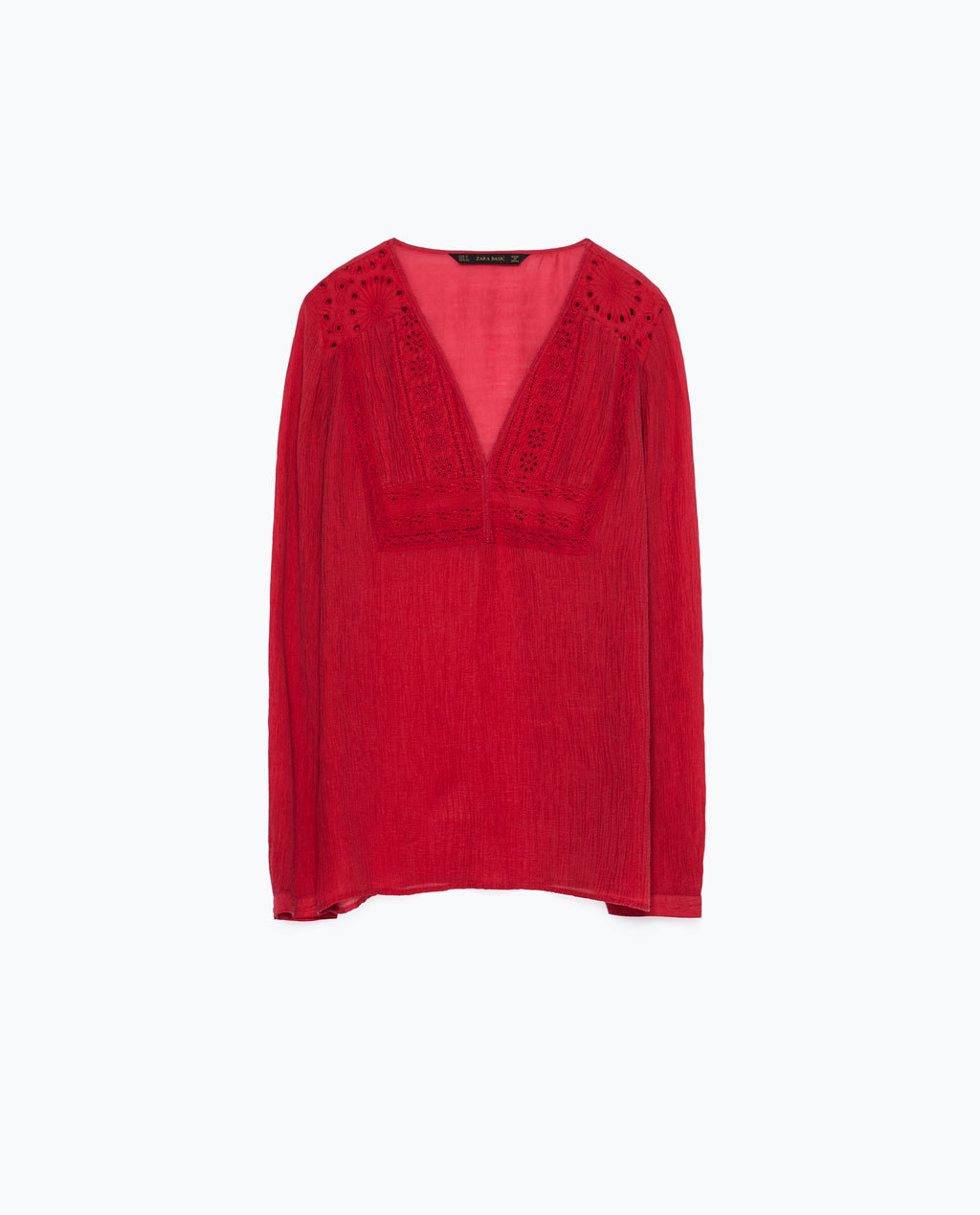 Cheesecloth Shirt With Embroidered Bib Front - neckline: v-neck; pattern: plain; style: blouse; bust detail: subtle bust detail; predominant colour: true red; occasions: casual; length: standard; fibres: viscose/rayon - 100%; fit: loose; sleeve length: long sleeve; sleeve style: standard; texture group: cotton feel fabrics; pattern type: fabric; embellishment: embroidered; season: s/s 2015; wardrobe: highlight