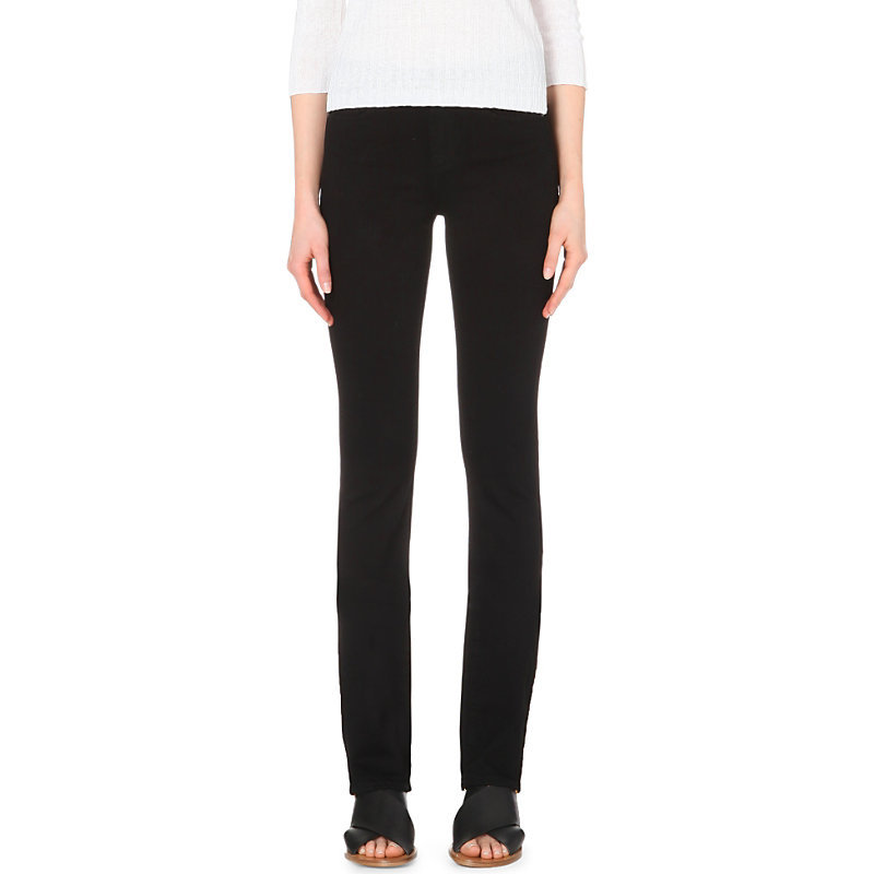 Hoxton Straight Leg High Rise Jeans, Women's, Black Shadow - style: straight leg; length: standard; pattern: plain; pocket detail: traditional 5 pocket; waist: mid/regular rise; predominant colour: black; occasions: casual; fibres: cotton - stretch; texture group: denim; pattern type: fabric; season: s/s 2015; wardrobe: basic