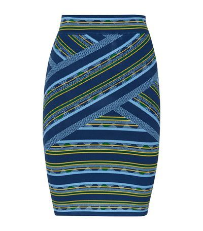 Pavel Striped Bandage Pencil Skirt - style: pencil; fit: body skimming; waist: high rise; hip detail: draws attention to hips; predominant colour: navy; secondary colour: denim; occasions: casual, evening, occasion; length: just above the knee; fibres: viscose/rayon - stretch; waist detail: feature waist detail; texture group: jersey - clingy; pattern type: fabric; pattern: patterned/print; season: s/s 2015; pattern size: big & busy (bottom); wardrobe: highlight