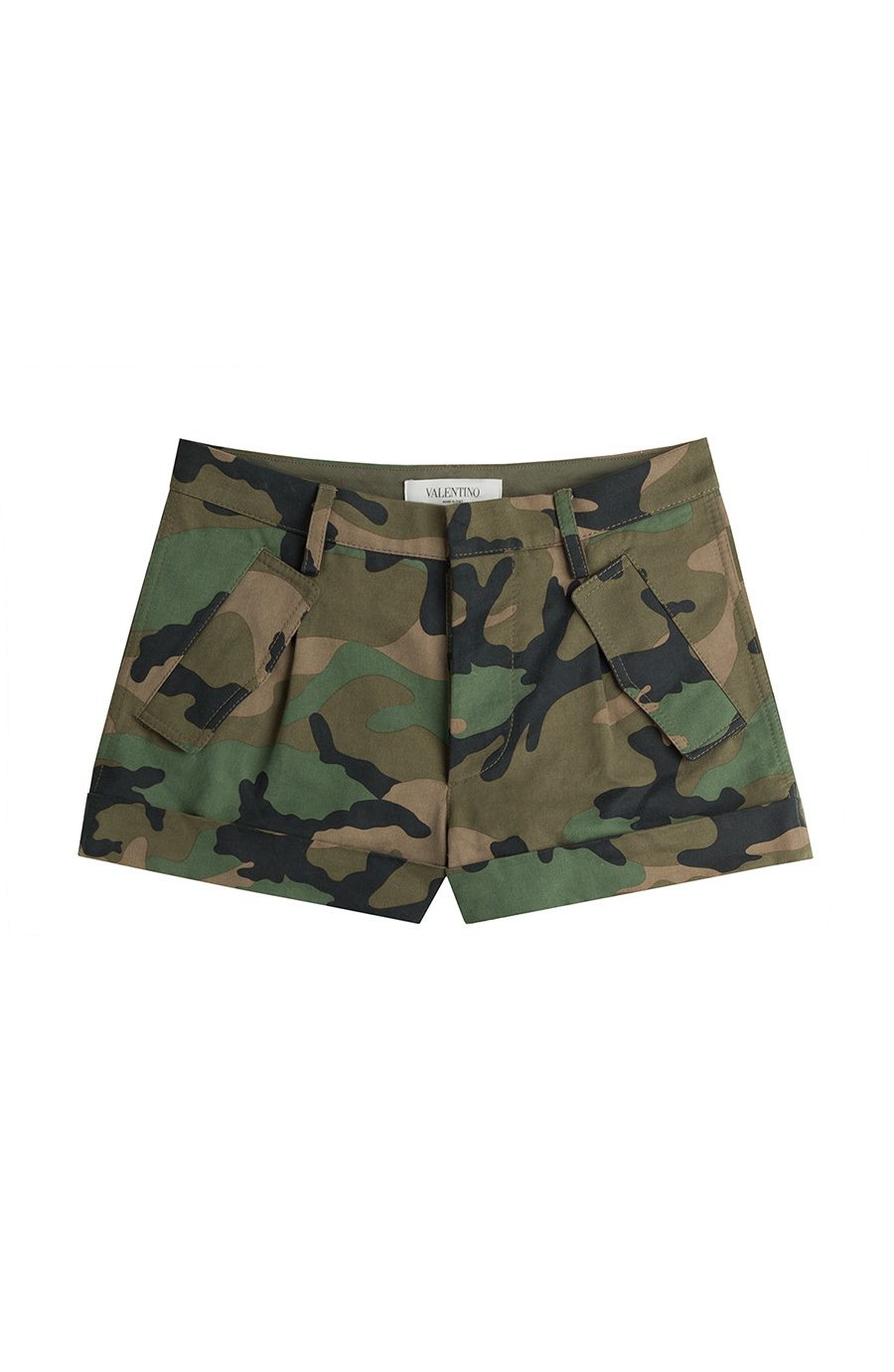 Cash & Rocket Camouflage Cotton Shorts - waist: mid/regular rise; secondary colour: dark green; predominant colour: khaki; occasions: casual, holiday; fibres: cotton - 100%; texture group: cotton feel fabrics; pattern type: fabric; pattern: camouflage; season: s/s 2015; pattern size: standard (bottom); multicoloured: multicoloured; style: shorts; length: short shorts; fit: slim leg; wardrobe: holiday