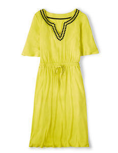 Estelle Dress Sherbet Lemon Women, Sherbet Lemon - style: shift; length: below the knee; neckline: v-neck; fit: fitted at waist; pattern: plain; waist detail: belted waist/tie at waist/drawstring; predominant colour: yellow; occasions: casual, holiday; fibres: linen - mix; sleeve length: short sleeve; sleeve style: standard; texture group: cotton feel fabrics; pattern type: fabric; season: s/s 2015; wardrobe: highlight