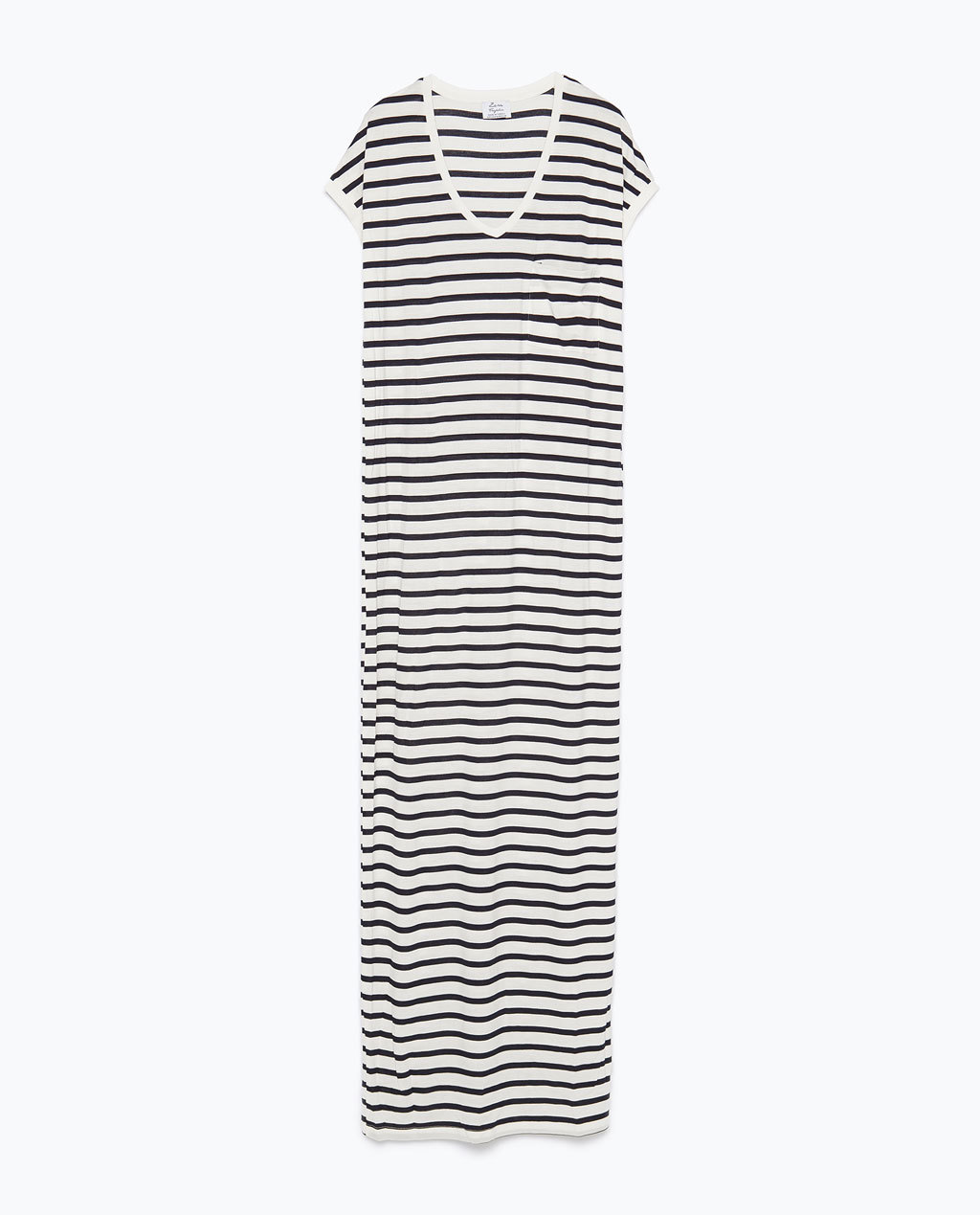 Long Striped Dress - neckline: low v-neck; fit: loose; pattern: horizontal stripes; style: maxi dress; length: ankle length; secondary colour: white; predominant colour: black; occasions: casual; fibres: viscose/rayon - stretch; sleeve length: short sleeve; sleeve style: standard; pattern type: fabric; pattern size: standard; texture group: jersey - stretchy/drapey; season: s/s 2015; wardrobe: basic