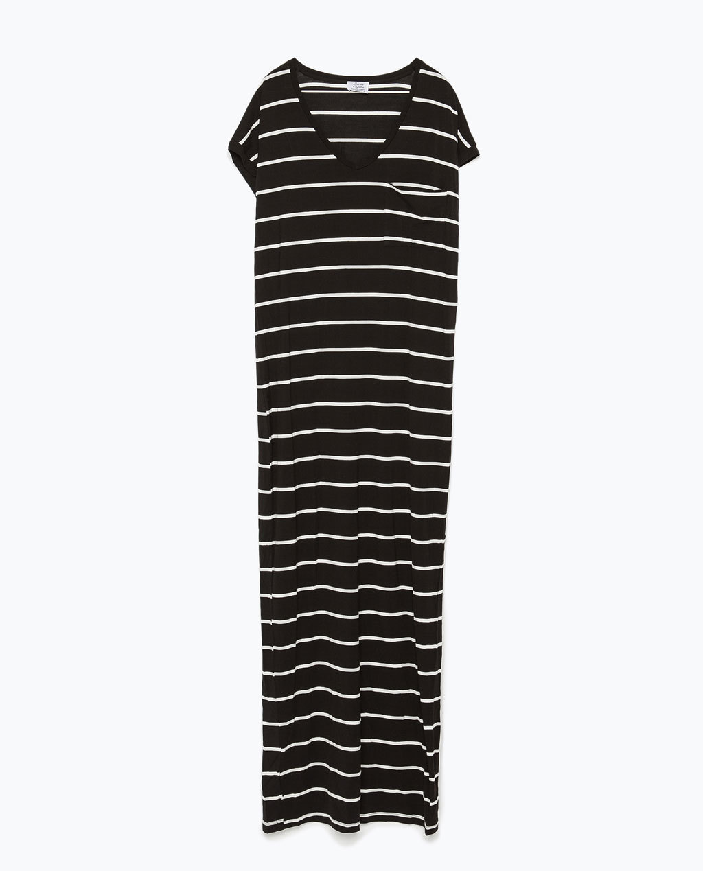 Long Striped Dress - neckline: low v-neck; fit: loose; pattern: horizontal stripes; style: maxi dress; length: ankle length; secondary colour: white; predominant colour: black; occasions: casual; sleeve length: short sleeve; sleeve style: standard; pattern type: fabric; pattern size: standard; texture group: jersey - stretchy/drapey; season: s/s 2015; wardrobe: basic