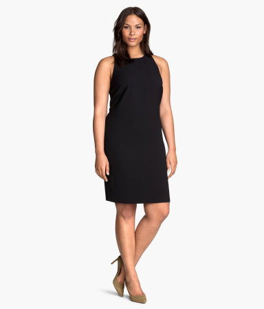 + Sleeveless Dress - style: shift; fit: tailored/fitted; pattern: plain; sleeve style: sleeveless; predominant colour: black; occasions: evening, work, creative work; length: just above the knee; fibres: polyester/polyamide - stretch; neckline: crew; sleeve length: sleeveless; texture group: crepes; pattern type: fabric; season: s/s 2015; wardrobe: investment