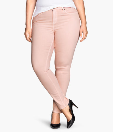 + Slim Regular Jeans - style: skinny leg; length: standard; pattern: plain; pocket detail: traditional 5 pocket; waist: mid/regular rise; predominant colour: blush; occasions: casual; fibres: cotton - stretch; texture group: denim; pattern type: fabric; season: s/s 2015; wardrobe: highlight