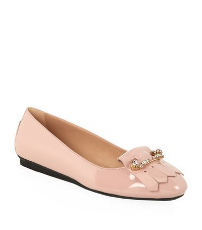 Crystal Embellished Fringed Ballet Flat - predominant colour: hot pink; occasions: casual, creative work; material: leather; heel height: flat; toe: round toe; style: ballerinas / pumps; finish: patent; pattern: plain; embellishment: fringing; season: s/s 2015; wardrobe: highlight