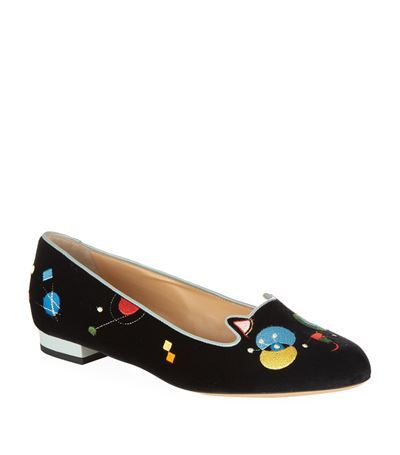 Abstract Kitty Flat - secondary colour: yellow; predominant colour: black; occasions: casual, creative work; material: velvet; heel height: flat; toe: round toe; style: ballerinas / pumps; finish: plain; pattern: patterned/print; season: s/s 2015; wardrobe: highlight