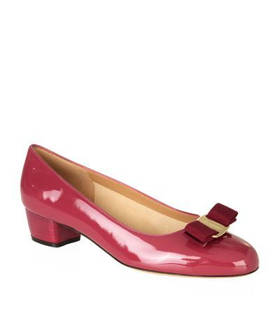 Vara Patent Leather Shoe - predominant colour: hot pink; occasions: casual, creative work; material: leather; heel height: mid; heel: block; toe: round toe; style: courts; finish: patent; pattern: plain; embellishment: bow; season: s/s 2015; wardrobe: highlight