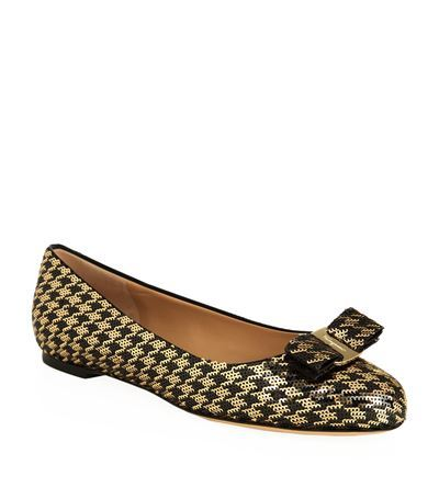 Varina Sequin Houndstooth Flat - predominant colour: gold; secondary colour: black; occasions: casual, creative work; material: leather; heel height: flat; toe: round toe; style: ballerinas / pumps; finish: patent; pattern: dogtooth; embellishment: bow; season: s/s 2015