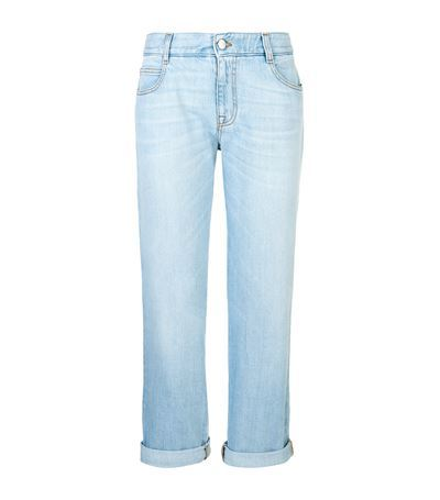 Organic Boyfriend Jeans - style: boyfriend; length: standard; pattern: plain; waist: high rise; pocket detail: traditional 5 pocket; predominant colour: pale blue; occasions: casual; fibres: cotton - stretch; jeans detail: shading down centre of thigh, washed/faded; jeans & bottoms detail: turn ups; texture group: denim; pattern type: fabric; season: s/s 2015; wardrobe: basic
