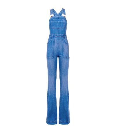 Long Denim Dungarees - length: standard; sleeve style: standard vest straps/shoulder straps; fit: tailored/fitted; pattern: plain; predominant colour: denim; occasions: casual; fibres: cotton - 100%; sleeve length: sleeveless; texture group: denim; style: dungarees; neckline: low square neck; pattern type: fabric; trends: seventies retro; season: s/s 2015; wardrobe: highlight