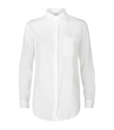 Cotton Boyfriend Shirt - neckline: shirt collar/peter pan/zip with opening; pattern: plain; length: below the bottom; style: shirt; predominant colour: white; occasions: casual, work, creative work; fibres: cotton - 100%; fit: body skimming; sleeve length: long sleeve; sleeve style: standard; texture group: cotton feel fabrics; season: s/s 2015; wardrobe: basic