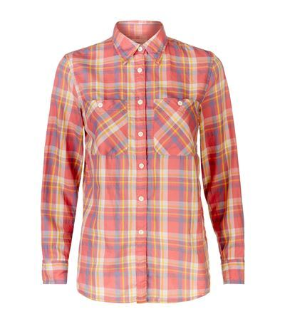 Plaid Utility Shirt - neckline: shirt collar/peter pan/zip with opening; pattern: checked/gingham; style: shirt; predominant colour: coral; secondary colour: nude; occasions: casual; length: standard; fibres: cotton - 100%; fit: straight cut; sleeve length: long sleeve; sleeve style: standard; texture group: cotton feel fabrics; bust detail: bulky details at bust; pattern type: fabric; pattern size: standard; season: s/s 2015; multicoloured: multicoloured; wardrobe: highlight