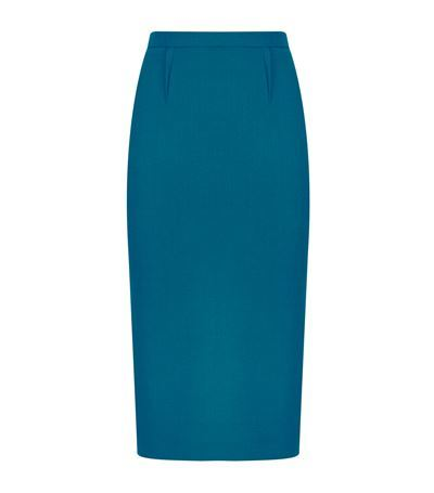 Arreton Crepe Pencil Skirt - pattern: plain; style: pencil; fit: tailored/fitted; waist: mid/regular rise; predominant colour: teal; occasions: evening, work, occasion; length: on the knee; fibres: polyester/polyamide - mix; texture group: crepes; pattern type: fabric; season: s/s 2015; wardrobe: highlight