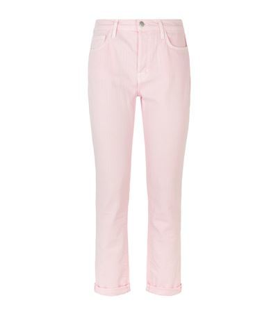 Georgia Boyfriend Jeans - style: boyfriend; length: standard; pattern: plain; waist: high rise; pocket detail: traditional 5 pocket; predominant colour: blush; occasions: casual; fibres: cotton - stretch; jeans & bottoms detail: turn ups; texture group: denim; pattern type: fabric; season: s/s 2015