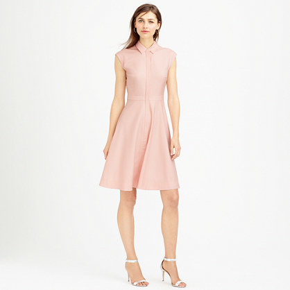 Cap Sleeve Shirtdress In Super 120s Wool - neckline: shirt collar/peter pan/zip with opening; sleeve style: capped; pattern: plain; predominant colour: blush; occasions: casual, occasion; length: just above the knee; fit: fitted at waist & bust; style: fit & flare; fibres: wool - 100%; sleeve length: sleeveless; pattern type: fabric; texture group: other - light to midweight; season: s/s 2015; wardrobe: basic