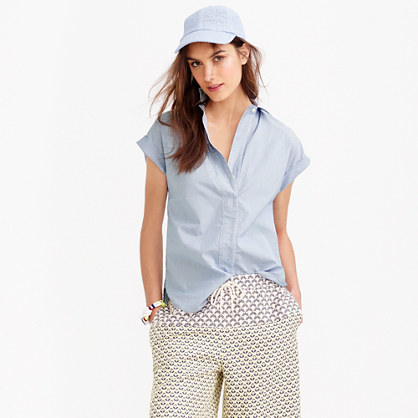 Petite Short Sleeve Popover Shirt In Stripe - neckline: shirt collar/peter pan/zip with opening; sleeve style: capped; pattern: plain; style: shirt; predominant colour: pale blue; occasions: casual, creative work; length: standard; fibres: cotton - 100%; fit: body skimming; sleeve length: short sleeve; texture group: cotton feel fabrics; pattern type: fabric; season: s/s 2015; wardrobe: highlight