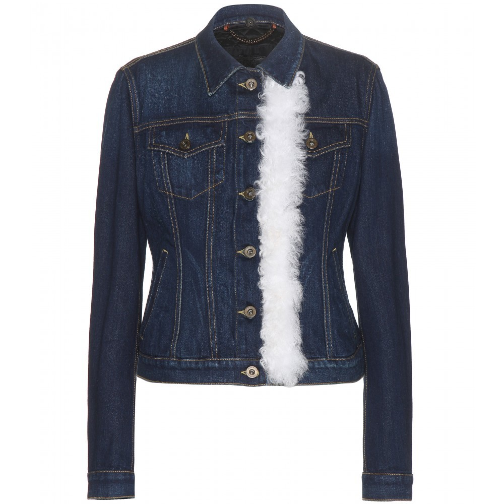 Embellished Denim Jacket - pattern: plain; style: denim; fit: slim fit; predominant colour: navy; occasions: casual; length: standard; fibres: cotton - 100%; collar: shirt collar/peter pan/zip with opening; sleeve length: long sleeve; sleeve style: standard; texture group: denim; collar break: high/illusion of break when open; pattern type: fabric; embellishment: fur; season: s/s 2015