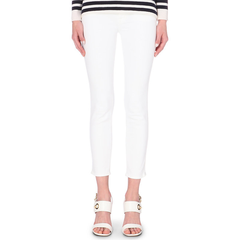 835 Capri Skinny Mid Rise Jeans, Women's, White - style: skinny leg; pattern: plain; pocket detail: traditional 5 pocket; waist: mid/regular rise; predominant colour: white; occasions: casual, creative work; length: ankle length; fibres: cotton - stretch; texture group: denim; pattern type: fabric; season: s/s 2015; wardrobe: highlight