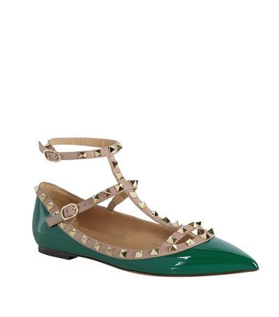 Rockstud Patent Ballet Flat - predominant colour: dark green; secondary colour: taupe; occasions: casual, creative work; material: leather; heel height: flat; embellishment: studs; ankle detail: ankle strap; toe: pointed toe; style: ballerinas / pumps; finish: patent; pattern: colourblock; season: s/s 2015; wardrobe: highlight
