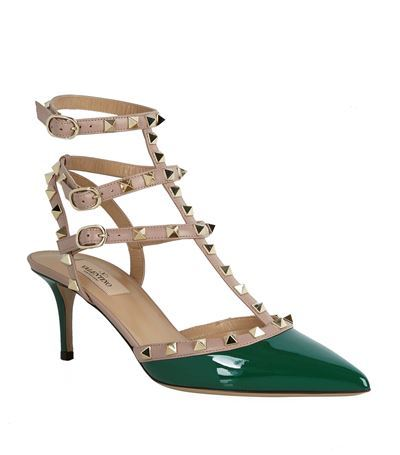 Rockstud 65 Patent Pump - secondary colour: emerald green; predominant colour: stone; occasions: evening, occasion; material: leather; heel height: mid; embellishment: studs; ankle detail: ankle strap; heel: stiletto; toe: pointed toe; style: t-bar; finish: patent; pattern: colourblock; season: s/s 2015