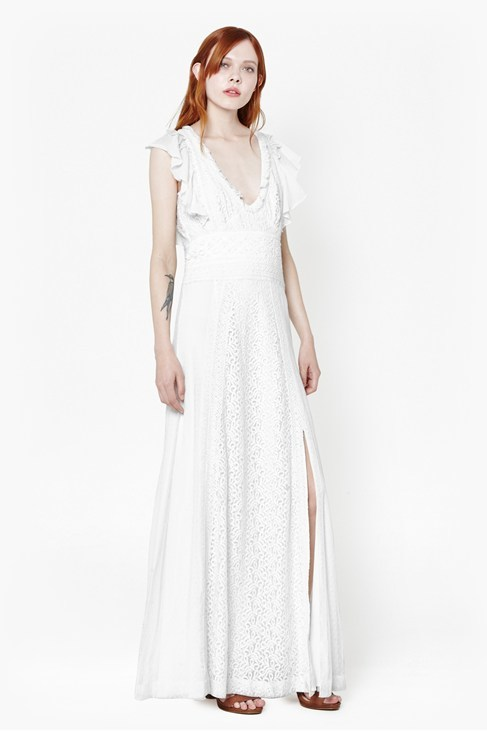 Dayton Lace Maxi Dress Winter White - neckline: low v-neck; sleeve style: angel/waterfall; pattern: plain; style: maxi dress; length: ankle length; predominant colour: white; occasions: evening, occasion; fit: soft a-line; hip detail: slits at hip; sleeve length: sleeveless; texture group: lace; pattern type: fabric; season: s/s 2015