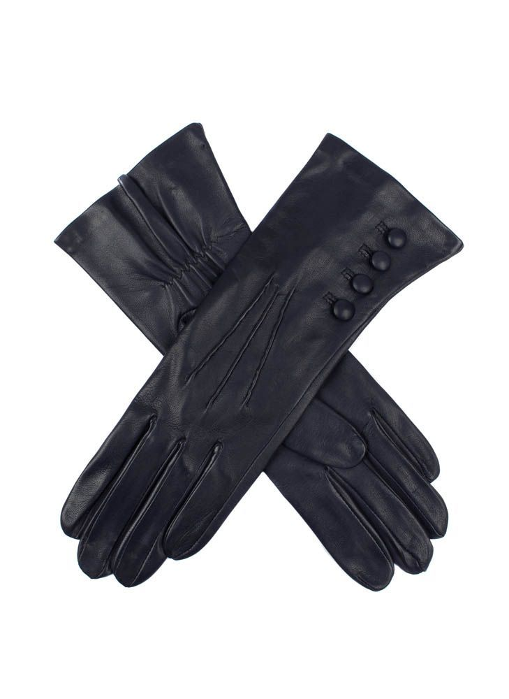 Ladies Leather Gloves, 4 Bl, With Silk Lining, Navy - predominant colour: navy; occasions: casual, work, creative work; style: standard; length: wrist; material: leather; pattern: plain; embellishment: button; season: s/s 2015