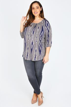 Navy & White Aztec Print Blouse With Keyhole Detail - style: blouse; secondary colour: white; predominant colour: navy; occasions: casual; length: standard; neckline: scoop; fibres: polyester/polyamide - stretch; fit: loose; sleeve length: 3/4 length; sleeve style: standard; pattern type: fabric; pattern size: standard; pattern: patterned/print; texture group: jersey - stretchy/drapey; season: s/s 2015; wardrobe: highlight