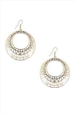 Gold Filigree Hoop Earrings - predominant colour: gold; occasions: evening, occasion; style: hoop; length: mid; size: standard; material: chain/metal; fastening: pierced; finish: metallic; season: s/s 2015